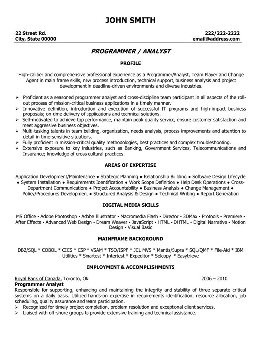 Program Analyst Resume Template Premium Resume Samples