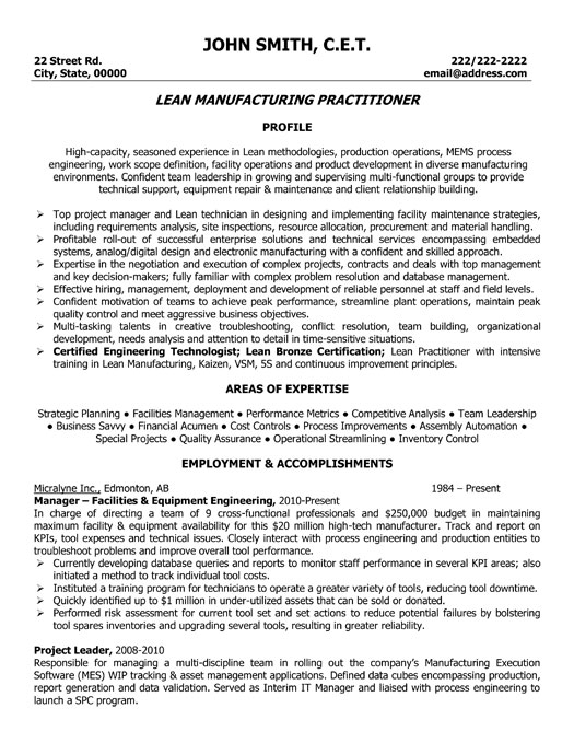 lead manufacturing practitioner resume template premium