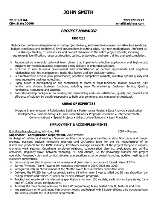 Project Manager Resume Template Premium Resume Samples U0026 Example