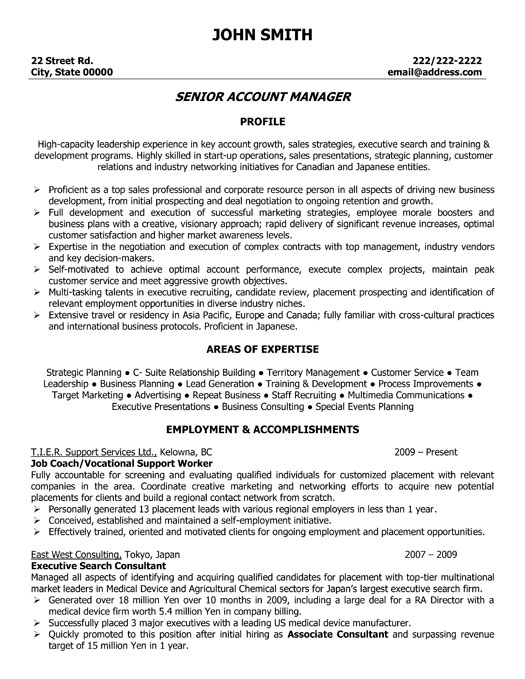 Senior account manager resume template premium resume for Executive resume format download