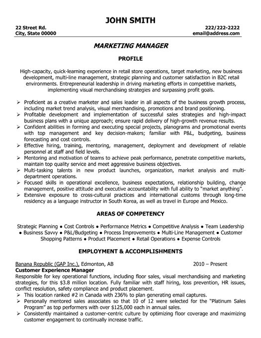 marketing manager resume template
