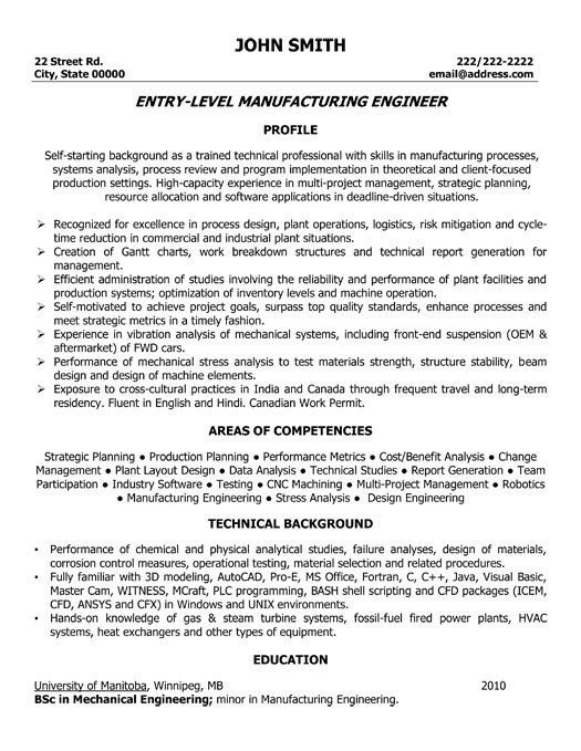 Engineer manufacturing process resume steel