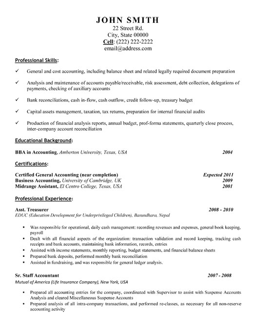Assistant treasurer resume
