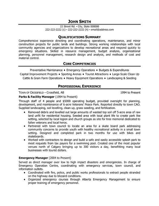 parks and facility manager resume template