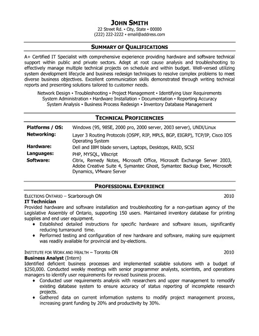 it technician resume template premium resume samples