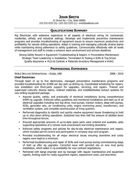 Electrician Resume Sample] Sample Resume Examples Electrical