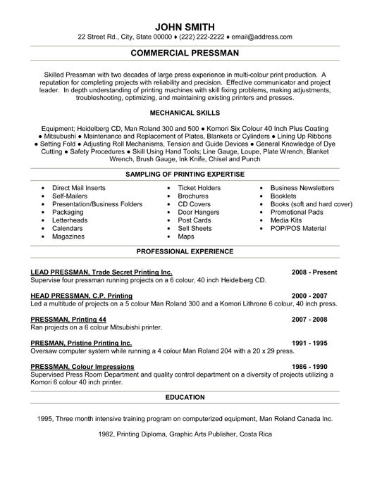 commercial pressman resume template