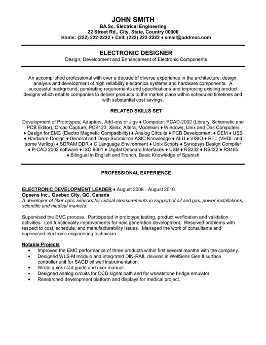 electronic designer resume template