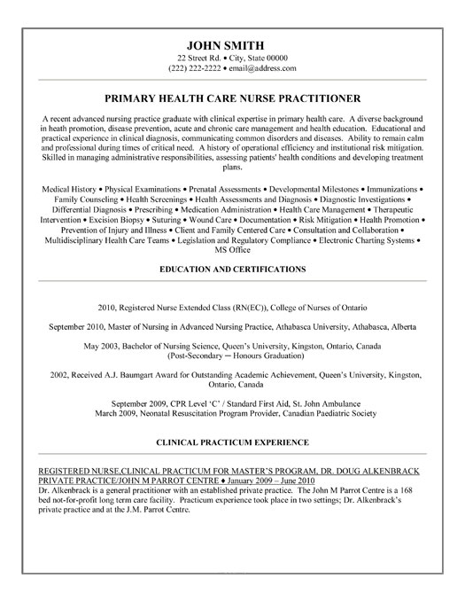 Family nurse practitioner resume samples