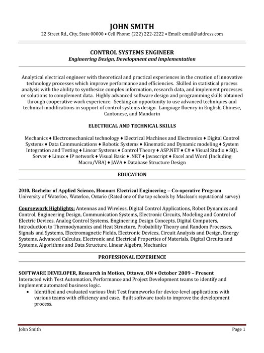 Control Systems Engineer Resume Template Premium Resume