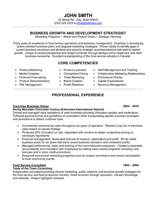 franchise business owner resume template premium resume samples example