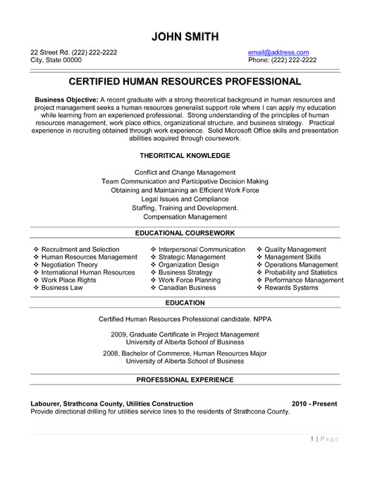 Sample resume for senior hr professional