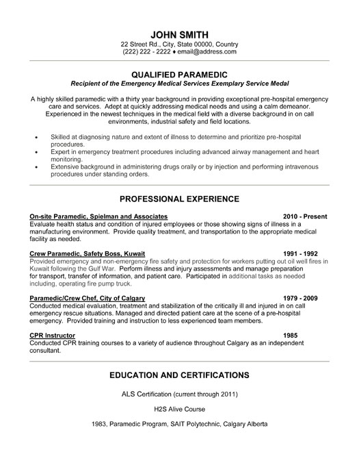 qualified paramedic resume template