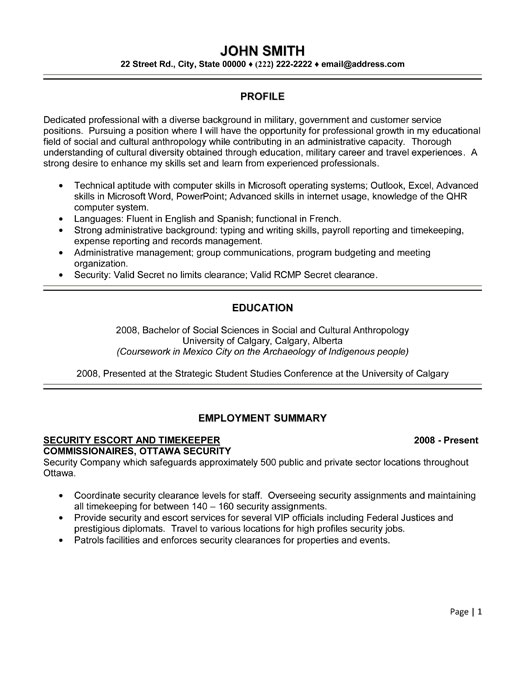 Security Escort and Timekeeper Resume Template | Premium ...