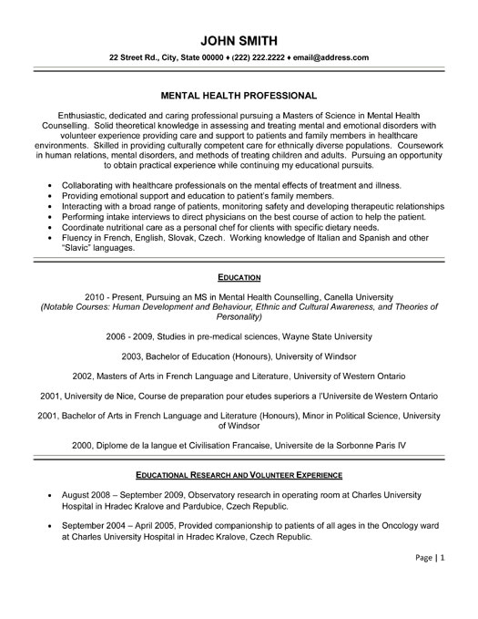 mental health professional resume template premium