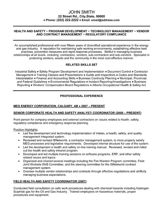 Senior Health And Safety Analyst Resume Template