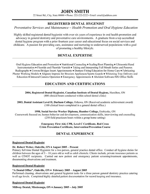 rdh resume - Dental Hygiene Resume Sample