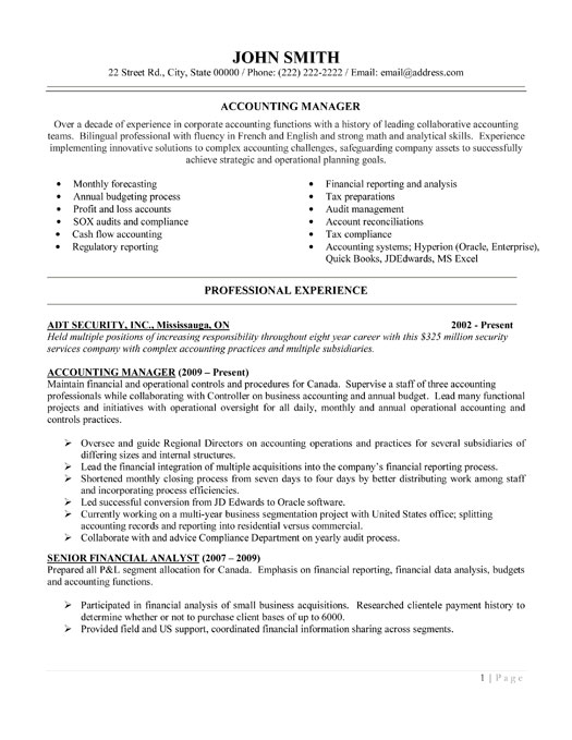 accounting manager cv sample free resume template - Sample Resume Cover Letter For Accounting Manager