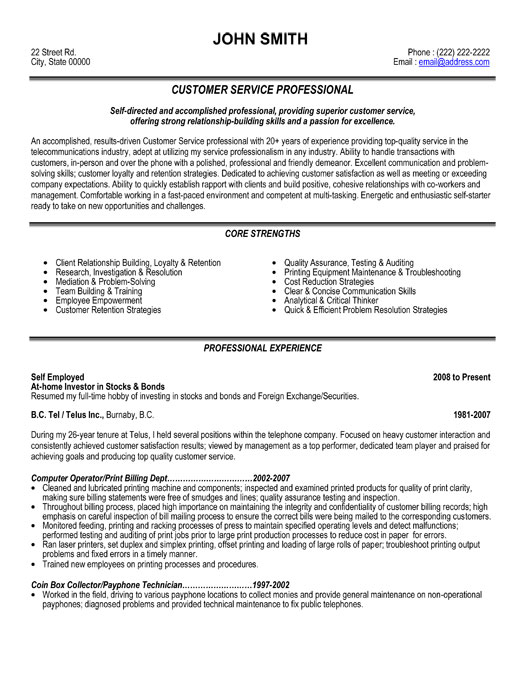 Professional Resume Service customer service cover letters for resume resume sample cover resume for Free Professional Resume Samples