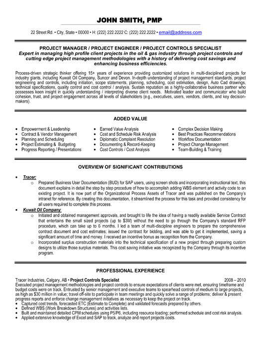 Project Controls Specialist Resume Template Premium