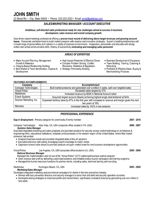 sales or marketing manager resume template premium