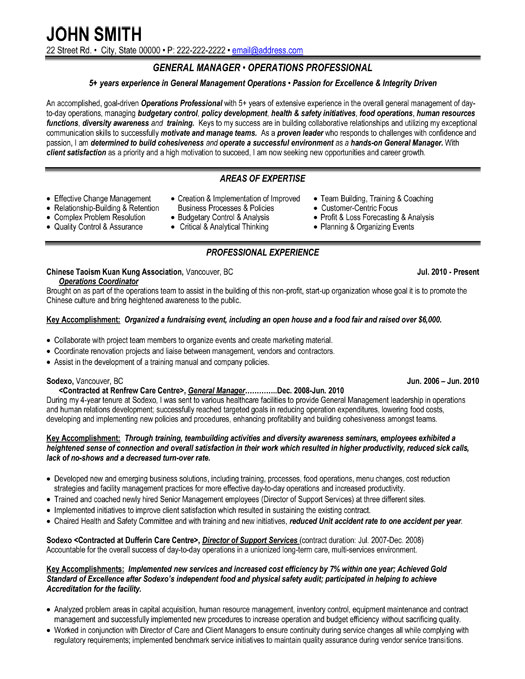 General Manager Resume Template | Premium Resume Samples & Example