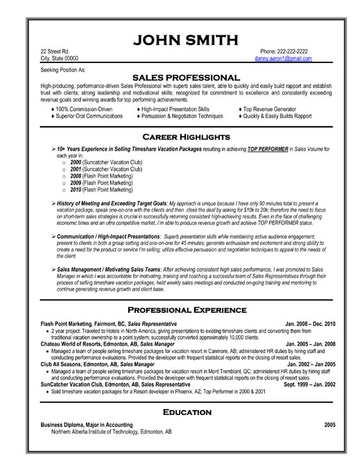 Sales Professional Resume Template | Premium Resume Samples & Example