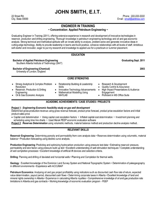 training engineer resume template