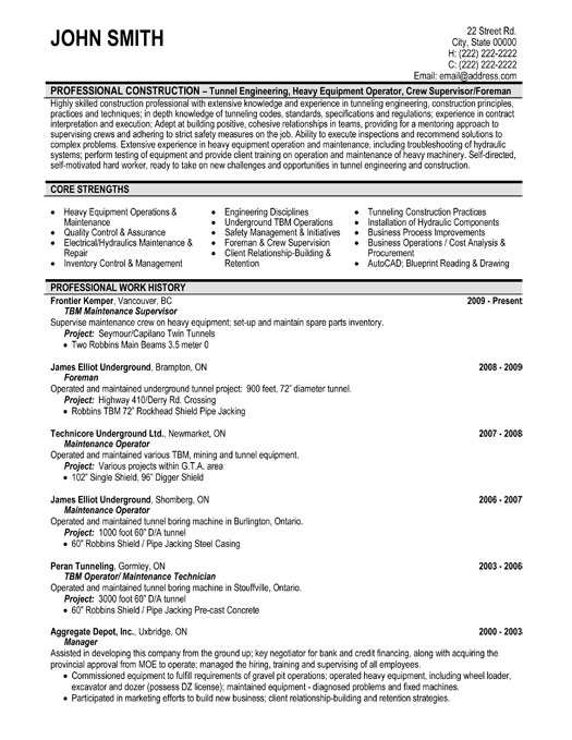 Maintenance Resume – Piping Supervisor Resume