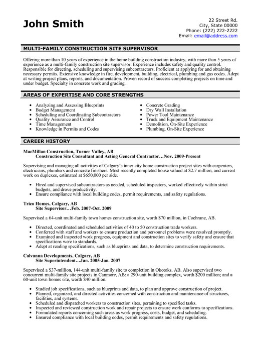 construction site supervisor resume template premium