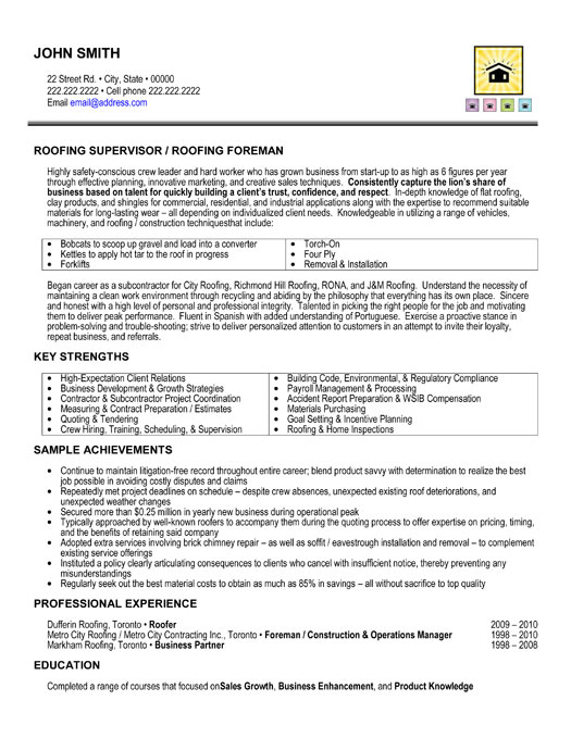 Sample resume for construction management