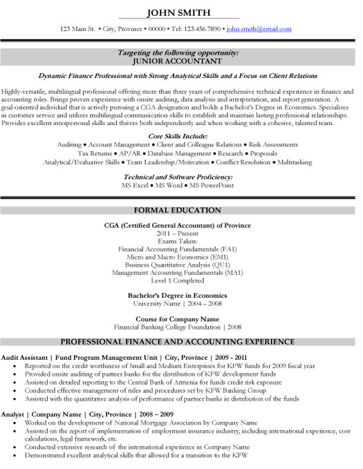 Junior Accountant Resume Template Premium Sles Exle