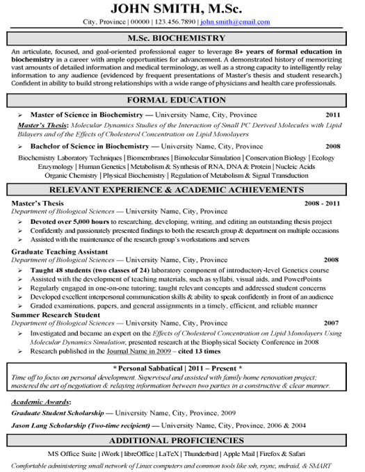 Pharmaceutical Sales Biochemistry Research Resume Template