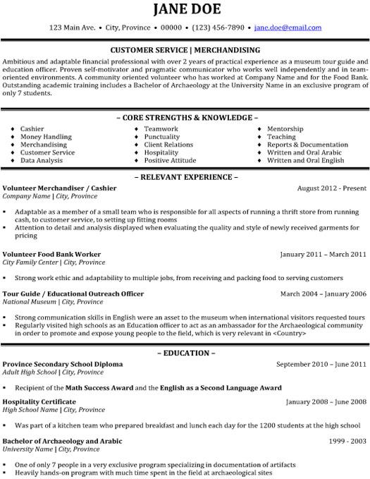 customer service merchandising resume template premium