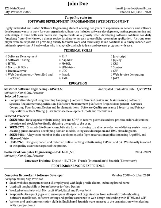 Web Service Software Developer Resume