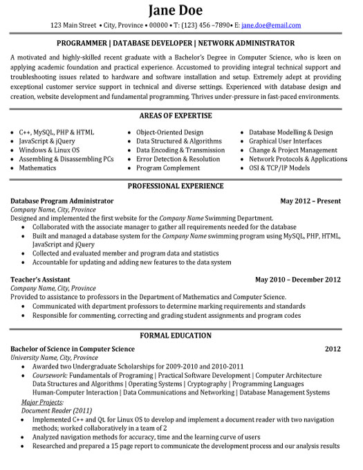 Junior network administrator resume