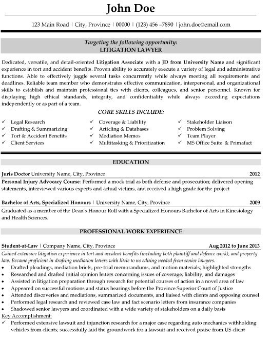 Litigation Lawyer Resume Template Premium Resume Samples