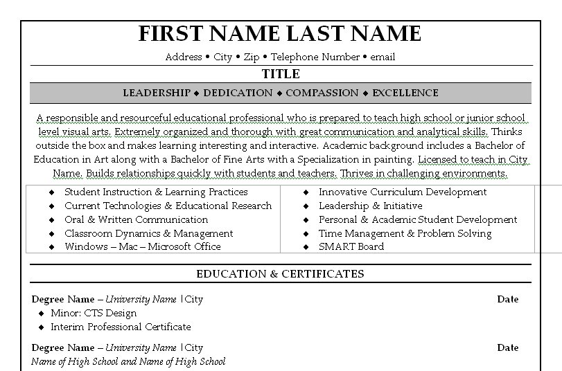 Teacher Resume Examples 2014 Teacher Resume Examples 2014