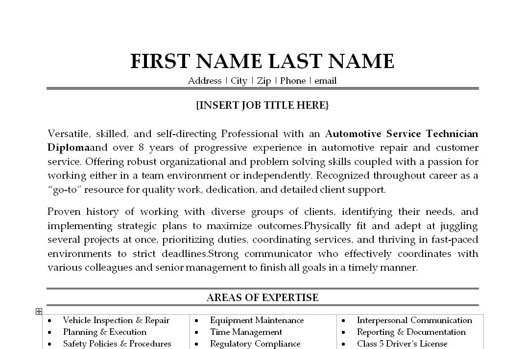 automotive service resume