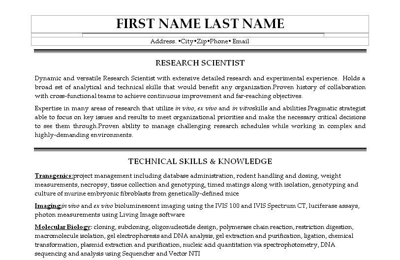 research scientist resume template premium resume
