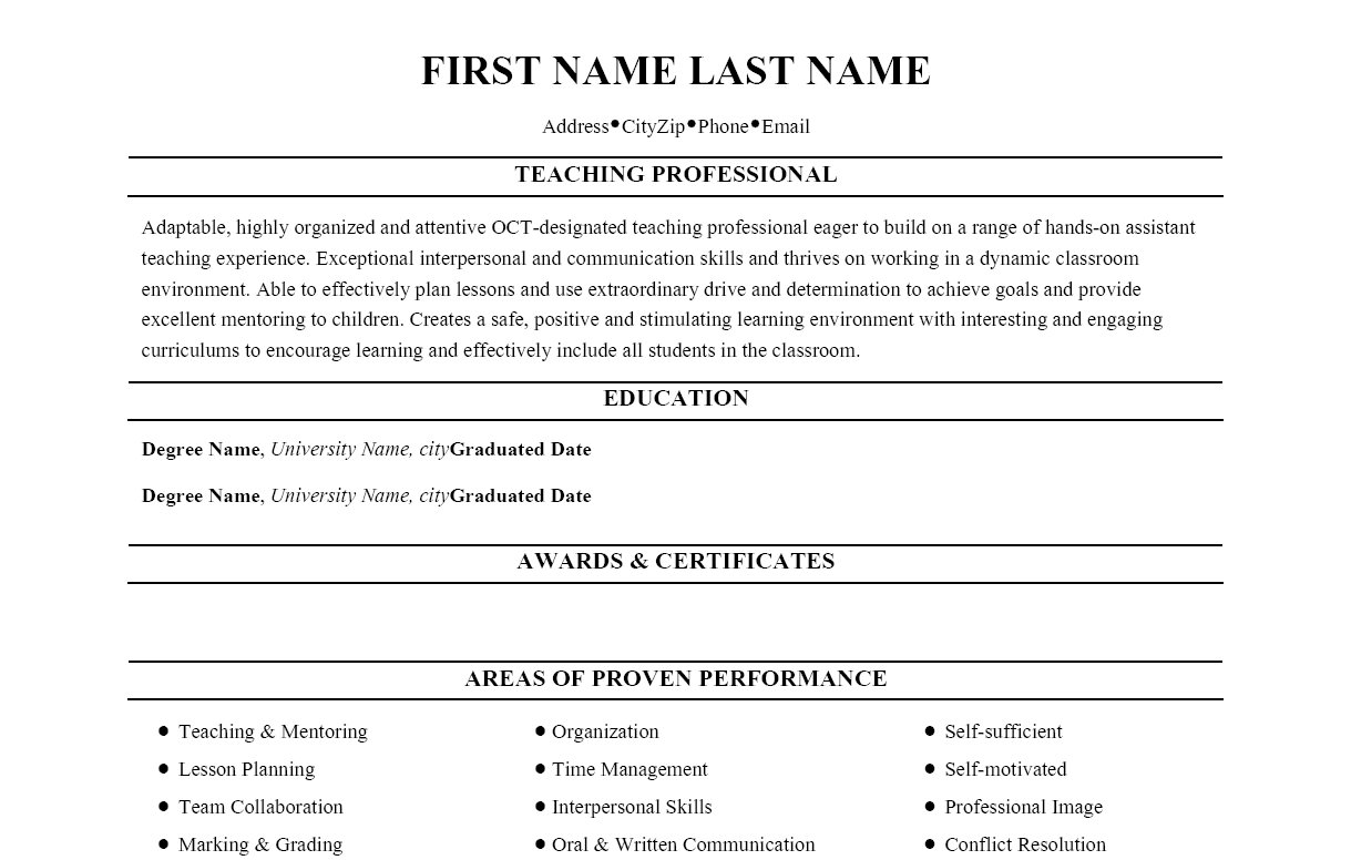 Sample Resume: Resume Format For Teaching Profession Professional.