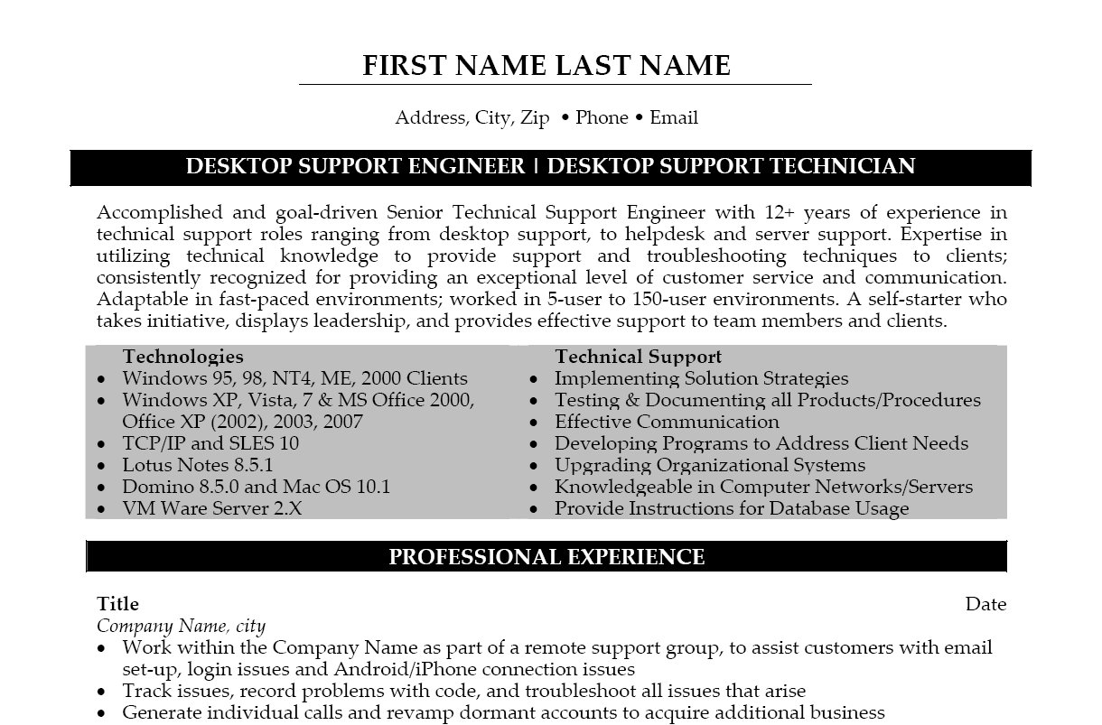desktop support engineer resume template