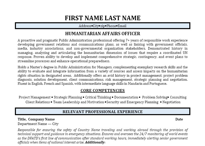 Humanitarian affairs officer cover letter