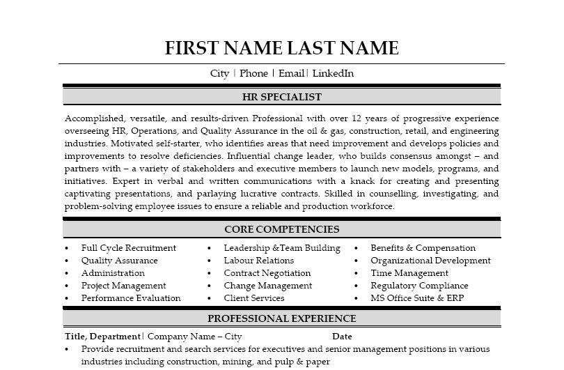 hr specialist resume template