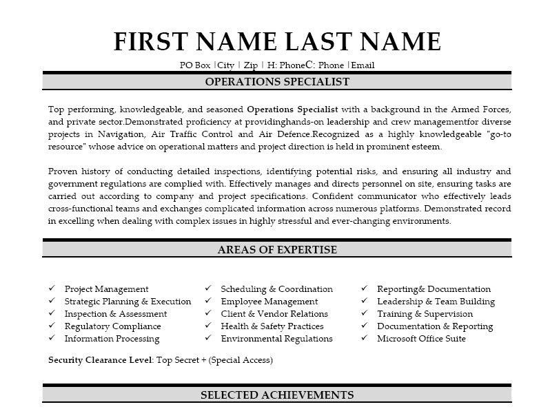 Operation specialist resume