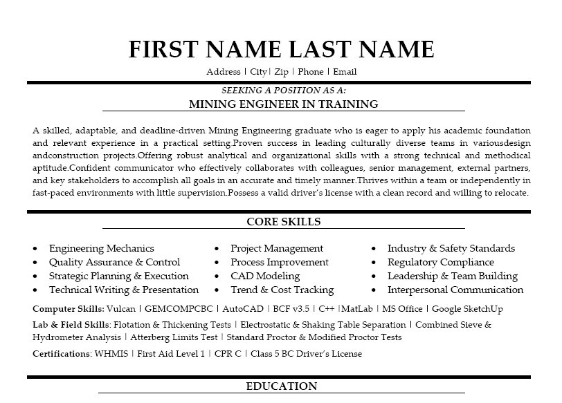Computer engineer resume cover letter mining