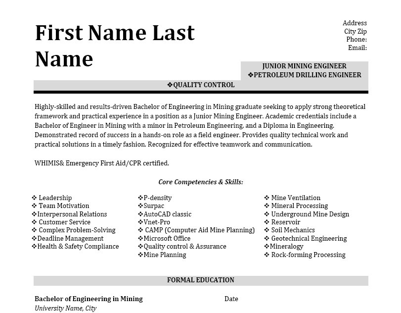 petroleum drilling engineer resume template