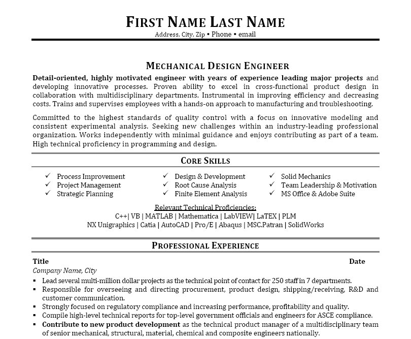 Mechanical Design Engineer Sample Resume Cover Letter Mechanical
