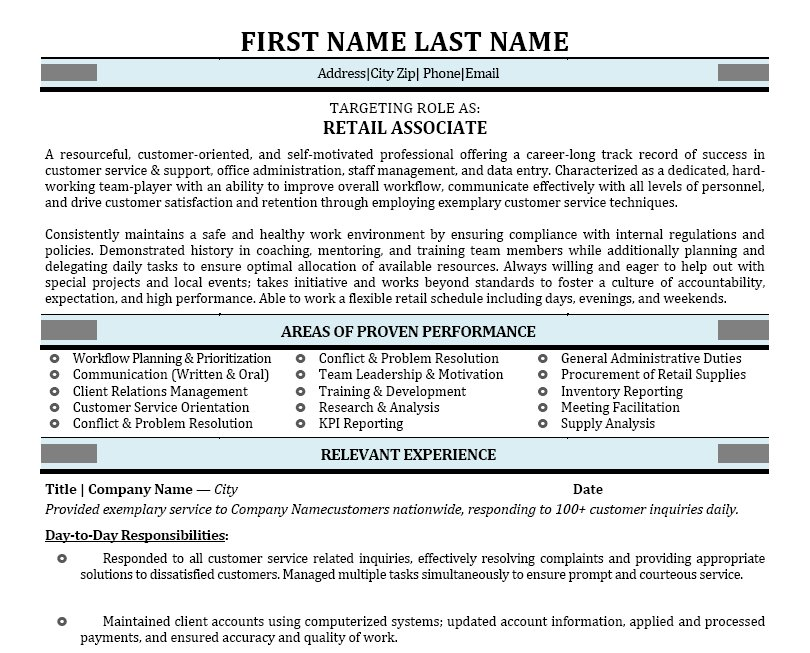 Retail Associate Resume Template | Premium Resume Samples & Example