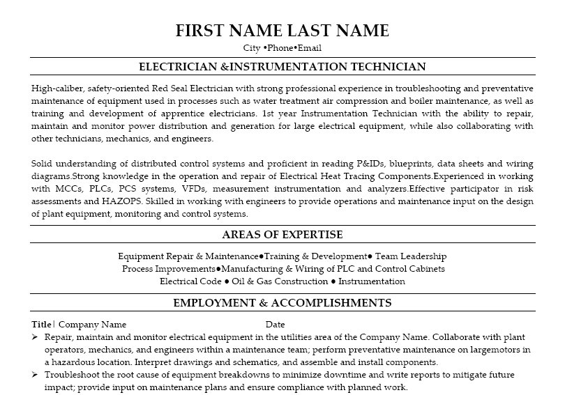 Resume Format For Instrument Technician | Resume Format